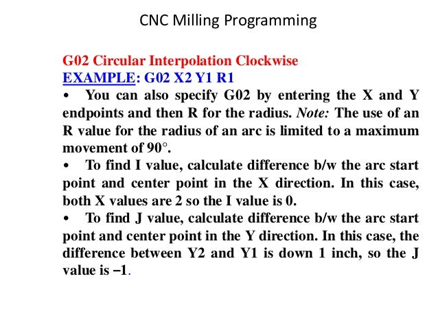 G02 Circular Interpolation Clockwise EXAMPLE: G02 X2 Y1 R1 • You can also specify G02 by entering the X and Y endpoints an...