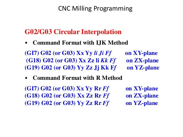 G02/G03 Circular Interpolation • Command Format with IJK Method (GI7) G02 (or G03) Xx Yy li Ji Ff on XY-plane (G18) G02 (o...