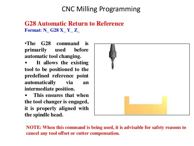 G28 Automatic Return to Reference Format: N_ G28 X_ Y_ Z_ •The G28 command is primarily used before automatic tool changin...
