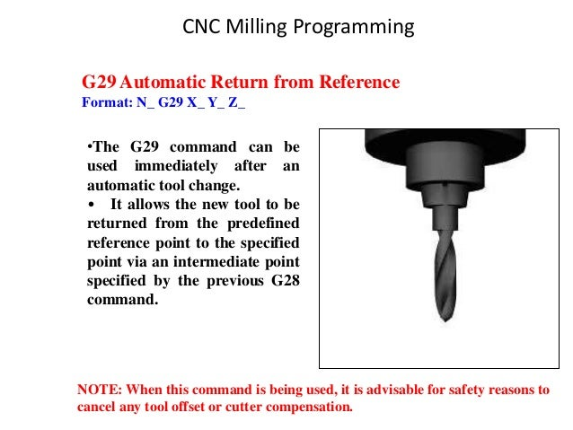 G29 Automatic Return from Reference Format: N_ G29 X_ Y_ Z_ •The G29 command can be used immediately after an automatic to...