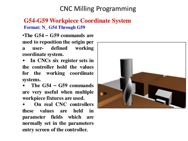 G54-G59 Workpiece Coordinate System Format: N_ G54 Through G59 •The G54 – G59 commands are used to reposition the origin p...