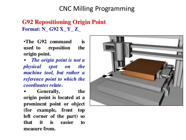G92 Repositioning Origin Point Format: N_ G92 X_ Y_ Z_ •The G92 command is used to reposition the origin point. • The orig...