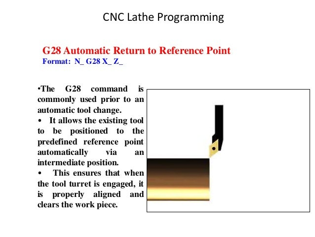 G28 Automatic Return to Reference Point Format: N_ G28 X_ Z_ •The G28 command is commonly used prior to an automatic tool ...