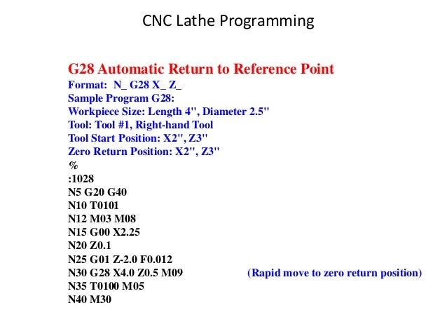 "G28 Automatic Return to Reference Point Format: N_ G28 X_ Z_ Sample Program G28: Workpiece Size: Length 4"", Diameter 2.5"" ..."