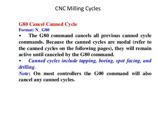 G80 Cancel Canned Cycle Format: N_ G80 • The G80 command cancels all previous canned cycle commands. Because the canned cy...