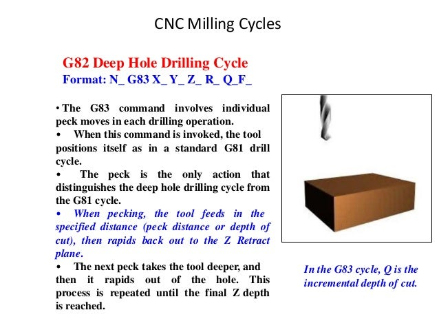 G82 Deep Hole Drilling Cycle Format: N_ G83 X_ Y_ Z_ R_ Q_F_ • The G83 command involves individual peck moves in each dril...