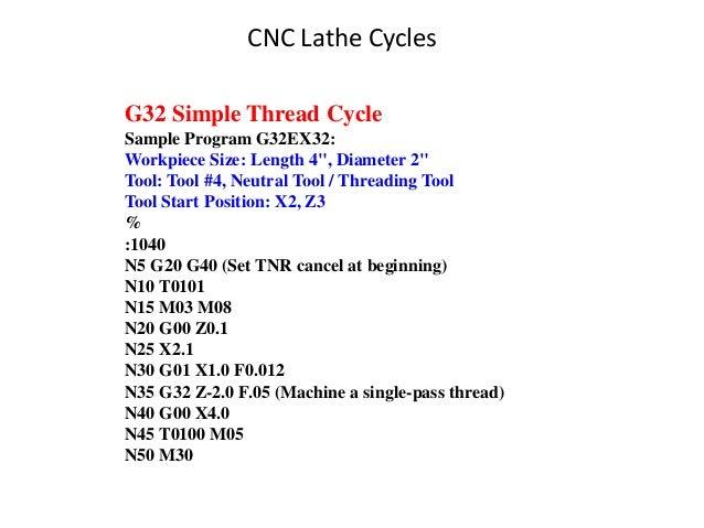 "G32 Simple Thread Cycle Sample Program G32EX32: Workpiece Size: Length 4"", Diameter 2"" Tool: Tool #4, Neutral Tool / Threa..."