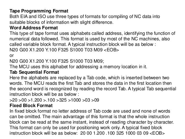 Tape Programming Format Both EIA and ISO use three types of formats for compiling of NC data into suitable blocks of infor...
