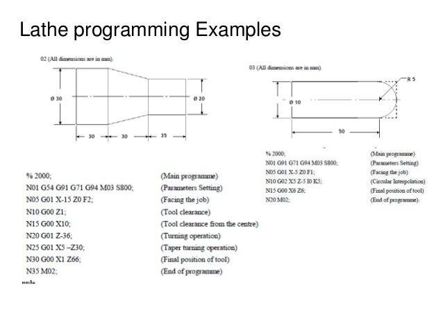 Lathe programming Examples