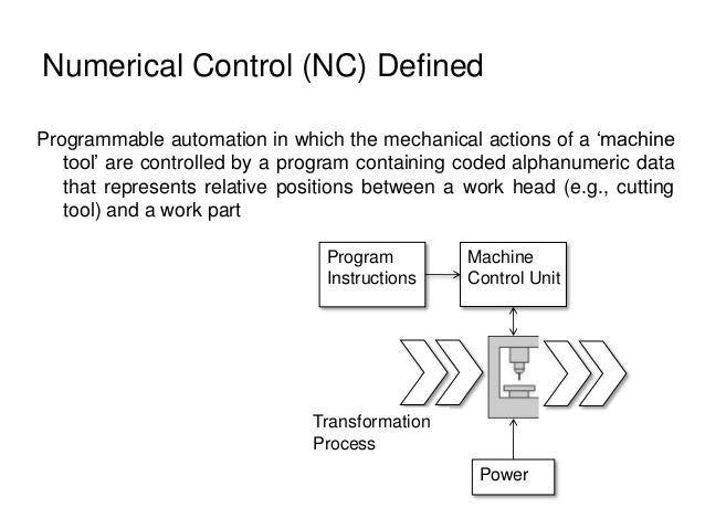 Numerical Control (NC) Defined Programmable automation in which the mechanical actions of a 'machine tool' are controlled ...