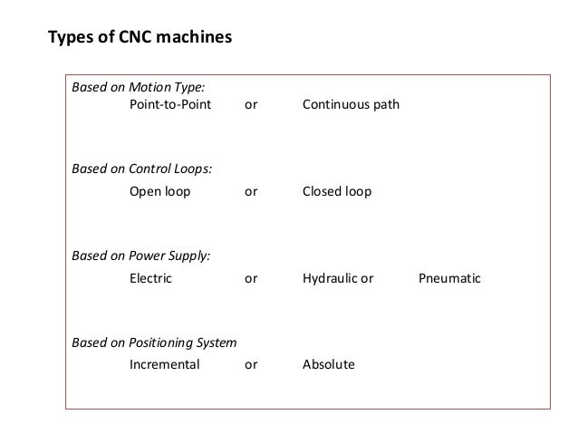 Types of CNC machines Based on Motion Type: Point-to-Point or Continuous path Based on Control Loops: Open loop or Closed ...