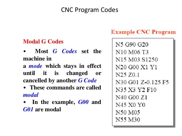 CNC Program Codes Modal G Codes • Most G Codes set the machine in a mode which stays in effect until it is changed or canc...