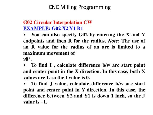G02 Circular Interpolation CW EXAMPLE: G02 X2 Y1 R1 • You can also specify G02 by entering the X and Y endpoints and then ...