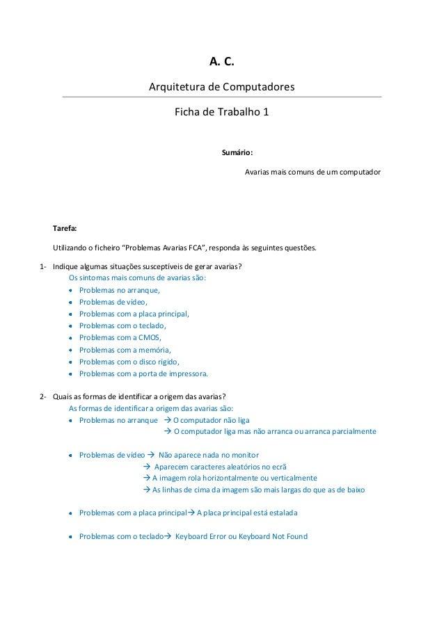 A. C.                                 Arquitetura de Computadores                                        Ficha de Trabalho...