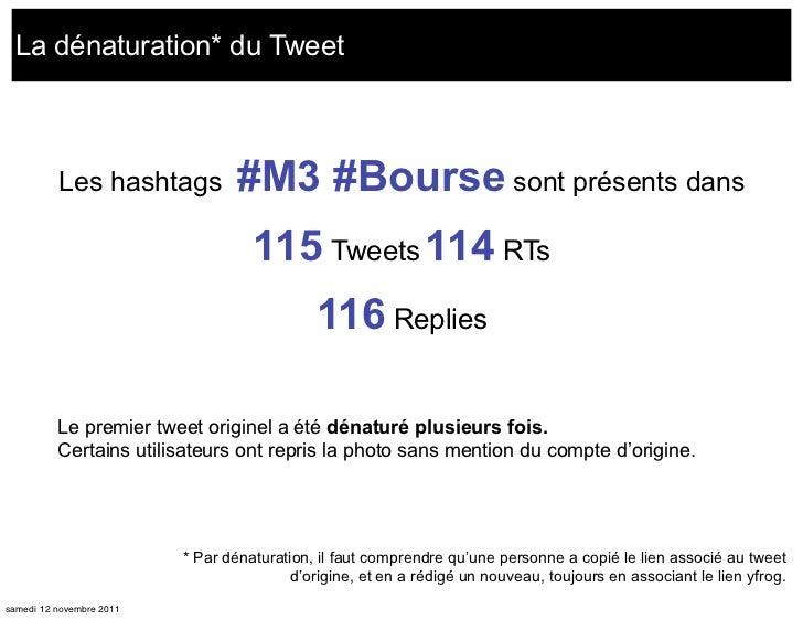 La dénaturation* du Tweet          Les hashtags            #M3 #Bourse sont présents dans                                 ...
