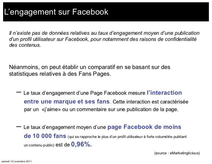 L'engagement sur Facebook     Il n'existe pas de données relatives au taux d'engagement moyen d'une publication     d'un p...
