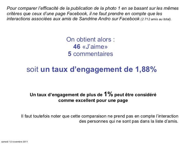 Pour comparer l'efficacité de la publication de la photo 1 en se basant sur les mêmes    critères que ceux d'une page Face...