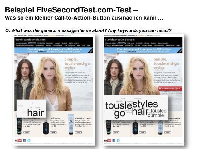 """Gestaltung: Blickverlauf planenInhalt: """"Gesprächsführung""""Beispiel FiveSecondTest.com-Test –Was so ein kleiner Call-to-Acti..."""