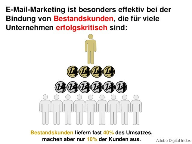 E-Mail-Marketing ist besonders effektiv bei derBindung von Bestandskunden, die für vieleUnternehmen erfolgskritisch sind:B...