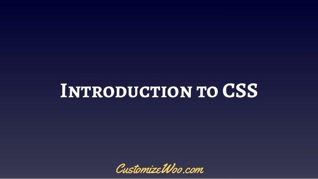 Introduction to CSS CustomizeWoo.com