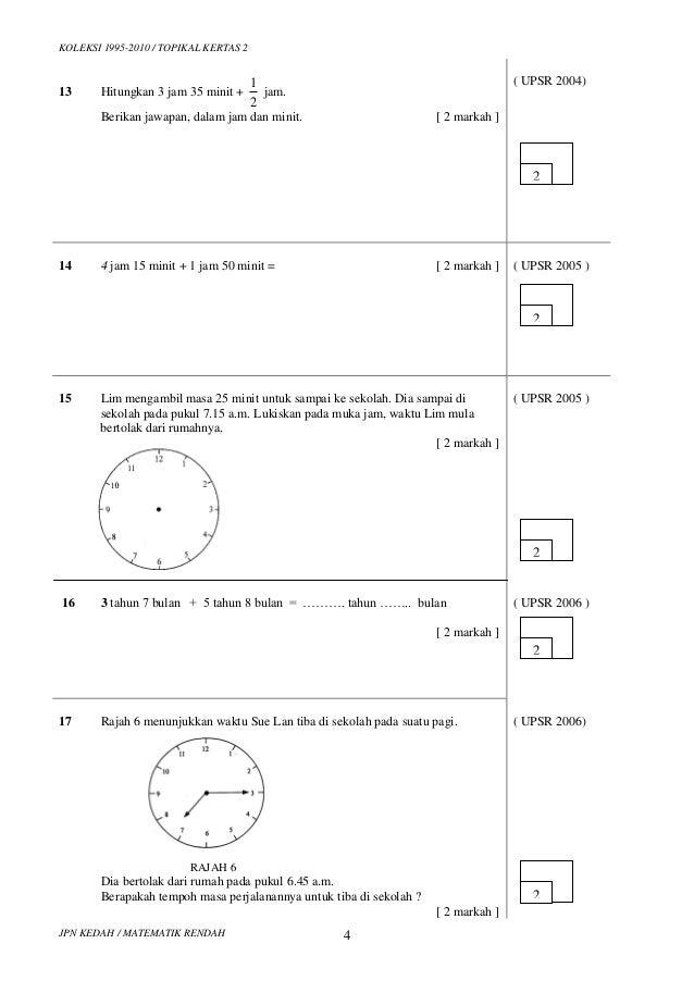 Kertas 2 Masa Dan Waktu Tahun 6