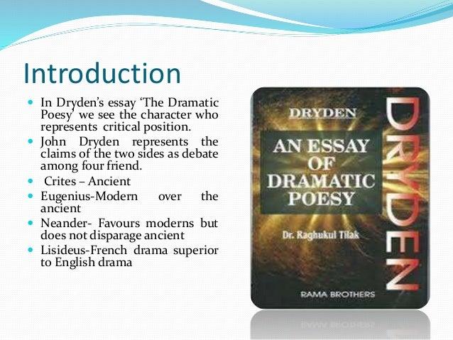 essay of dramatic poesy eugenius