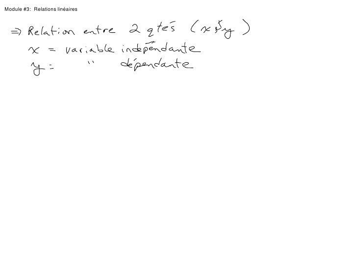 Module #3:  Relations linéaires<br />
