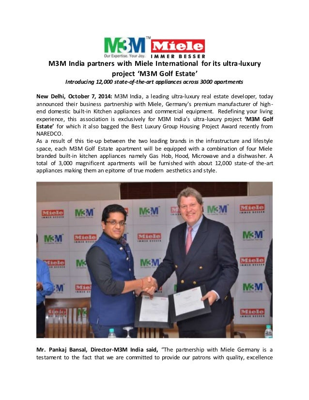 M3M India partners with Miele International for its ultra-luxury  project 'M3M Golf Estate'  Introducing 12,000 state-of-t...