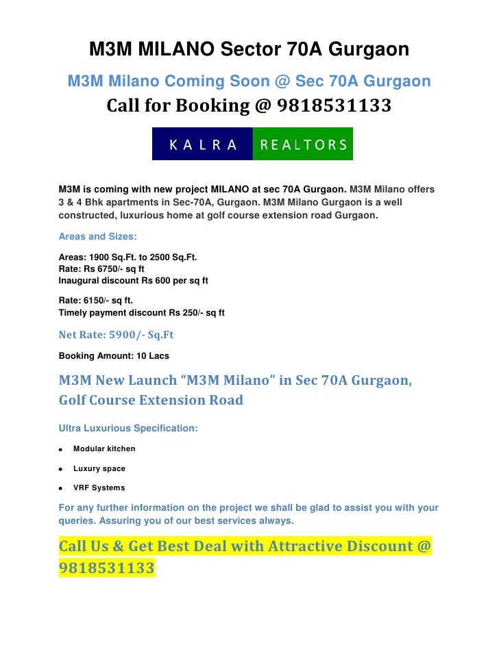 M3M MILANO Sector 70A Gurgaon<br />M3M Milano Coming Soon @ Sec 70A GurgaonCall for Booking @ 9818531133<br />M3M is comin...