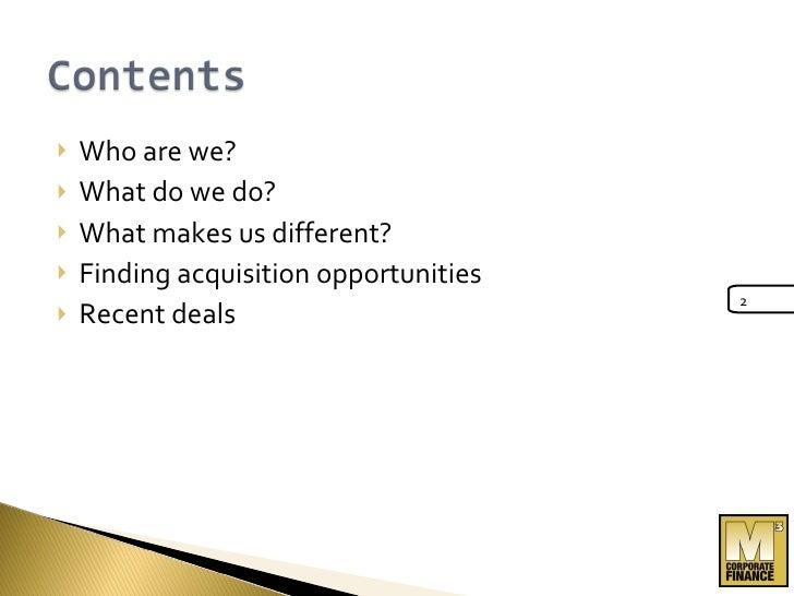 M3 Acquisition Presentation Slide 2