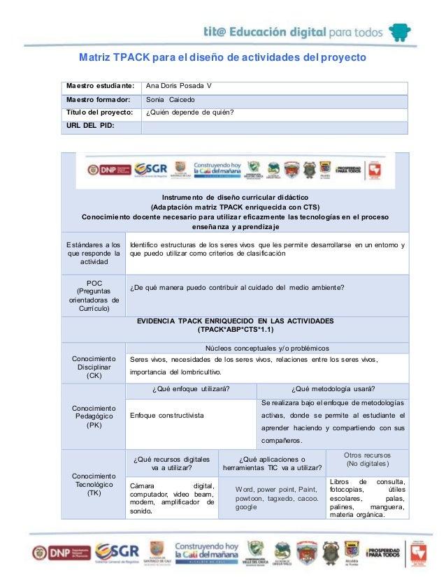 Matriz TPACK para el diseño de actividades del proyecto Maestro estudiante: Ana Doris Posada V Maestro formador: Sonia Cai...
