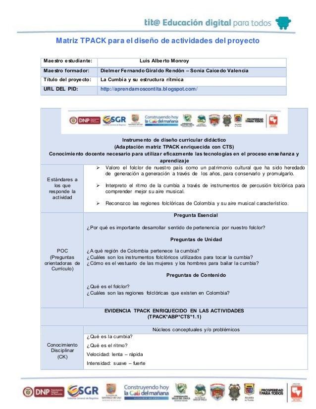Matriz TPACK para el diseño de actividades del proyecto Maestro estudiante: Luis Alberto Monroy Maestro formador: Dielmer ...