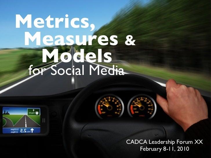 CADCA Leadership Forum XX February 8-11, 2010 Metrics, for Social Media Measures  & Models