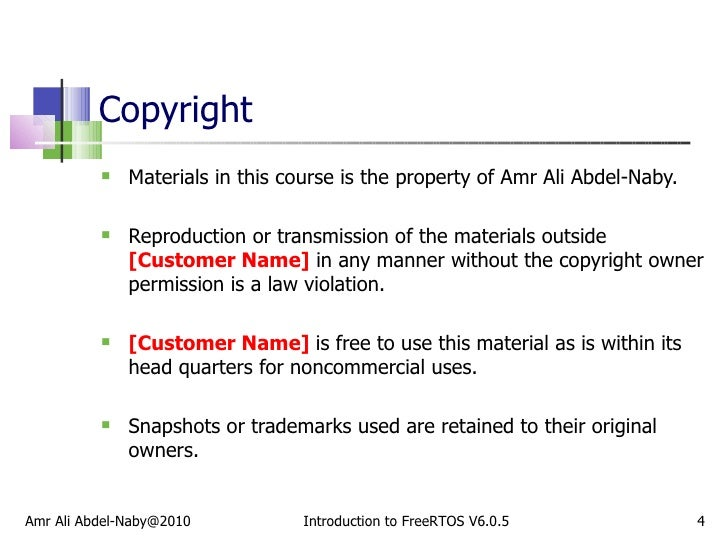 Copyright <ul><li>Materials in this course is the property of Amr Ali Abdel-Naby. </li></ul><ul><li>Reproduction or transm...