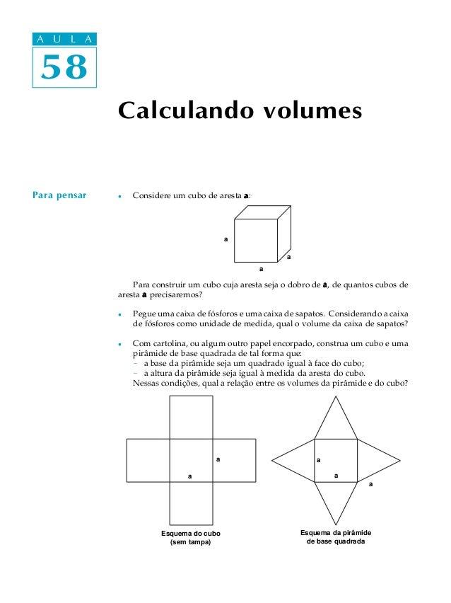 A UA U L A     L A  58 58              Calculando volumesPara pensar   l   Considere um cubo de aresta a :                ...