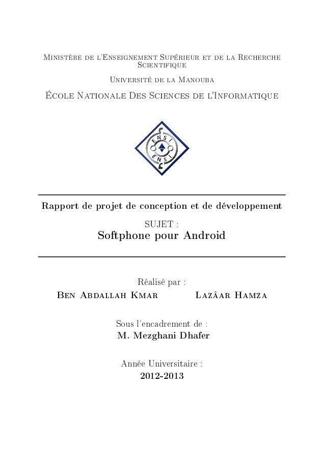 Ministère de l'Enseignement Supérieur et de la Recherche Scientifique Université de la Manouba École Nationale Des Science...