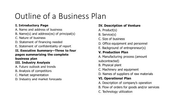 equipment business plans