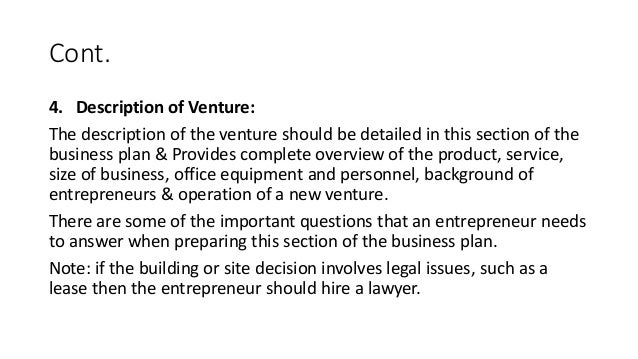 description of venture business plan