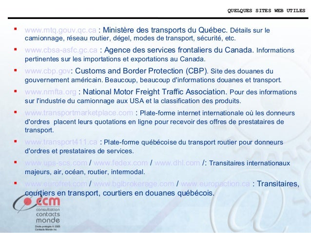 M5 logistique du transport international sp for National motor freight traffic association