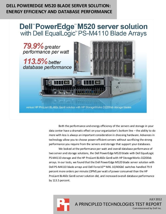 DELL POWEREDGE M520 BLADE SERVER SOLUTION:ENERGY EFFICIENCY AND DATABASE PERFORMANCE                        Both the perfo...
