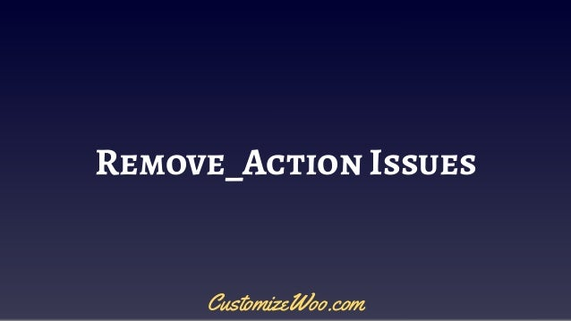 Remove_Action Issues CustomizeWoo.com