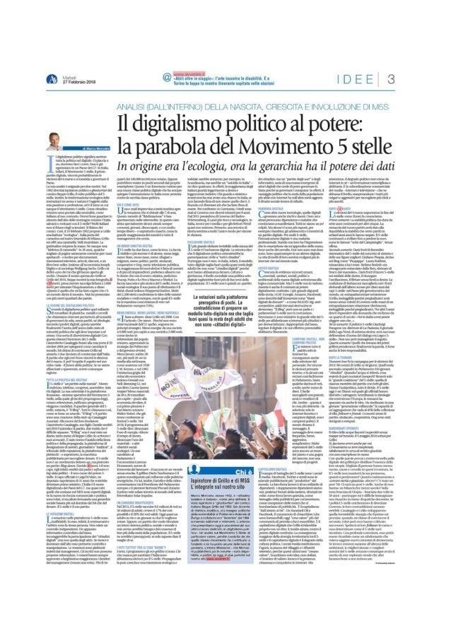 Il digitalismo politico al potere - La parabola del M5S 27 feb 2018
