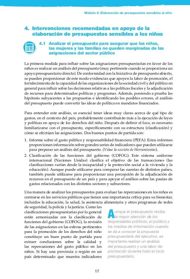 18 Ecuador: marco presupuestario sensible al niño, políticas en favor de los niños vulnerables A raíz de la crisis económi...