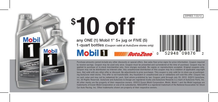 Mobil 1 Oil Change >> 10 Off Mobil 1 Oil Change Only At Autozone