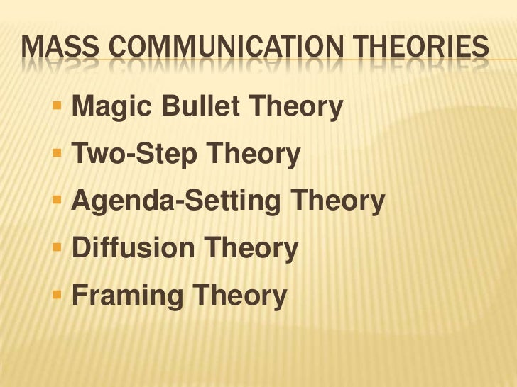 MASS COMMUNICATION THEORIES  Magic Bullet Theory  Two-Step Theory  Agenda-Setting Theory  Diffusion Theory  Framing T...