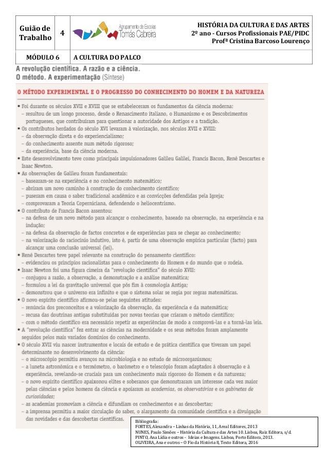 Guião de Trabalho 4 HISTÓRIA DA CULTURA E DAS ARTES 2º ano - Cursos Profissionais PAE/PIDC Profª Cristina Barcoso Lourenço...