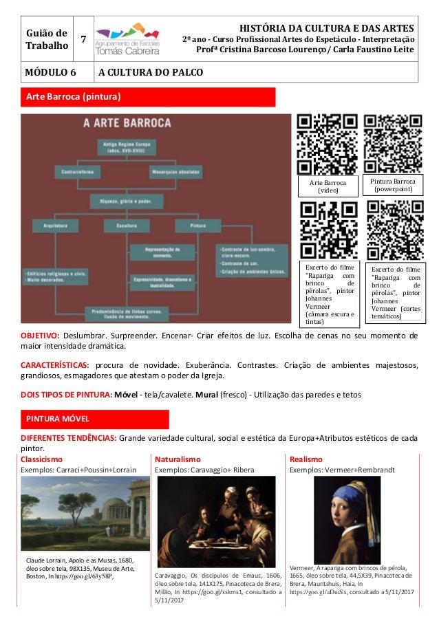 Guião de Trabalho 7 HISTÓRIA DA CULTURA E DAS ARTES 2º ano - Curso Profissional Artes do Espetáculo - Interpretação Profª ...