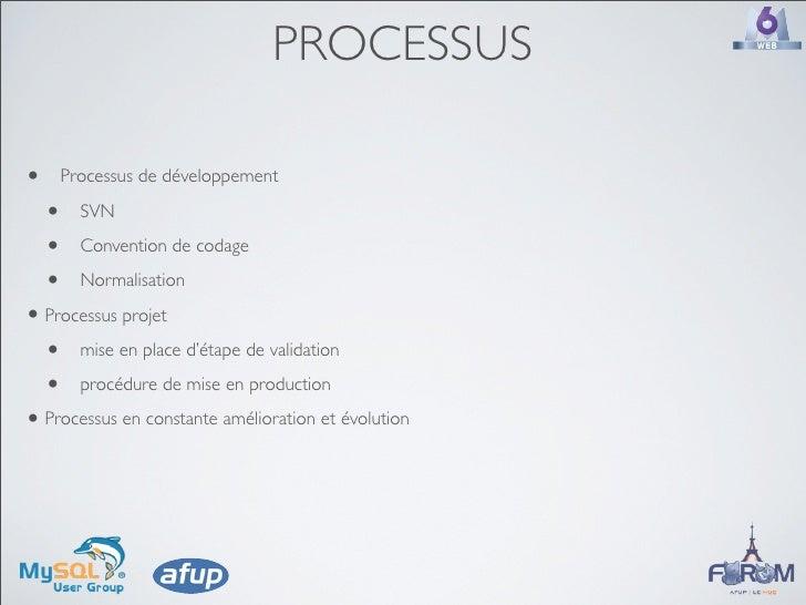 PROCESSUS  •   Processus de développement      •   SVN      •   Convention de codage      •   Normalisation  • Processus p...