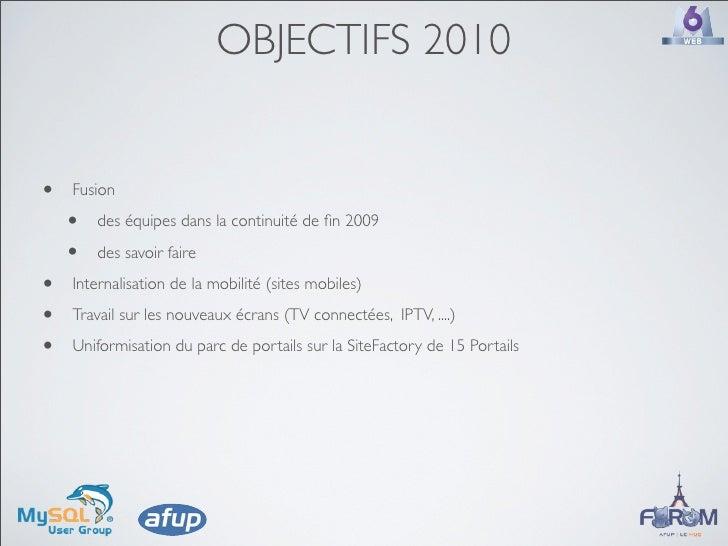 OBJECTIFS 2010   •   Fusion      •   des équipes dans la continuité de fin 2009      •   des savoir faire  •   Internalisat...