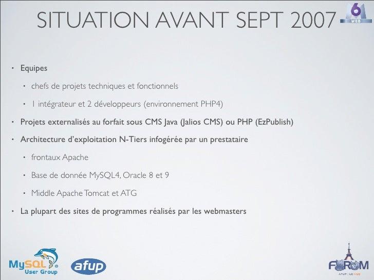 SITUATION AVANT SEPT 2007 •   Equipes     •   chefs de projets techniques et fonctionnels     •   1 intégrateur et 2 dével...